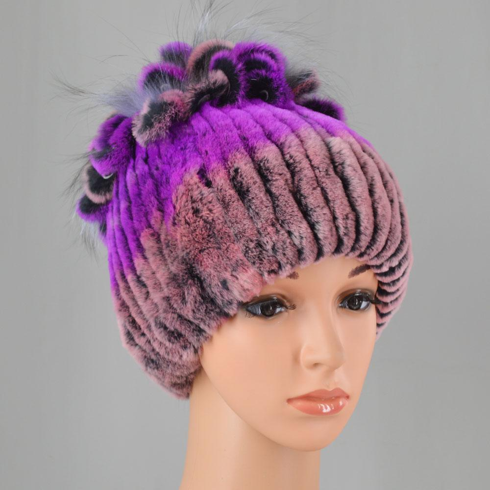 d960d62e1f1 Hot Sale Russian Women Winter Real Rex Rabbit Fur Hats Floral Warm Natural Rex  Rabbit Fur Caps Knitted Lady Top With Fox Hat Knitted Hat Cap Hat From ...