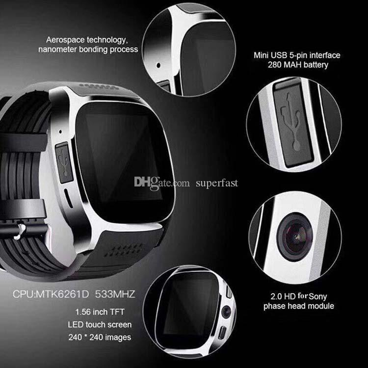 Bluetooth Smart Uhr T8 für Android Smartwatch Pedometer SIM-TF-Karte mit Kamera Sync Rufnachricht pk DZ09 Q18 ID115 plus
