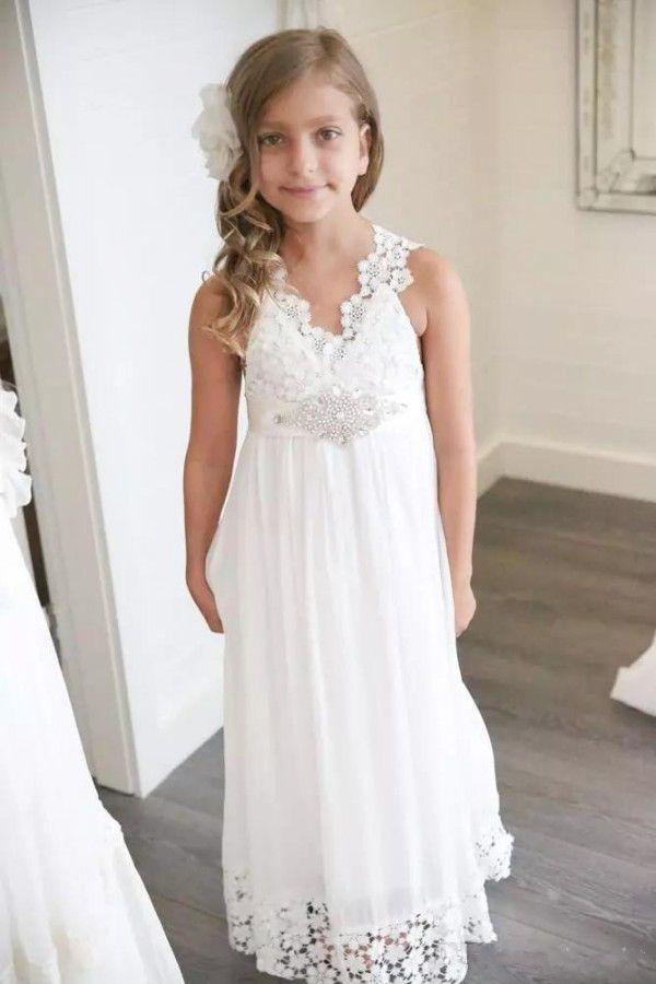 2018 recién llegado de boho vestidos de niña de flores para bodas Barato con cuello en V una línea de encaje y gasa bastante pequeñas niñas vestidos de novia de playa