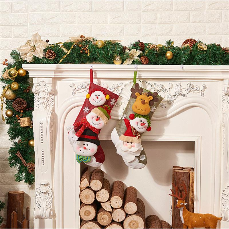 christmas stocking cute christmas decoration santa claus snowman elk kids gift holder candy bag xmas drop ornament ckg164 glass christmas decorations glass