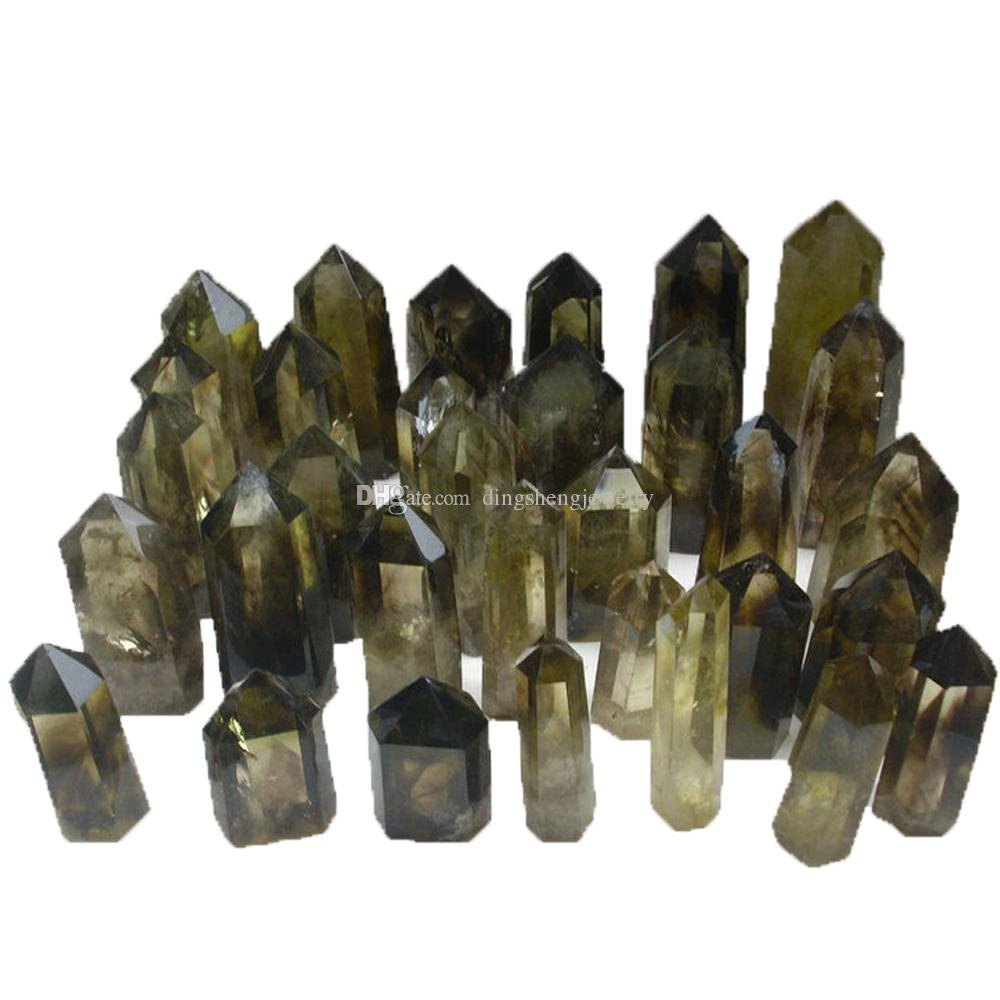 DingSheng Natural Yellow Citrine Smoky Quartz Wand Single Terminated Point Crystal Stone Six Facets Obelisk Prism Tower Wholesale
