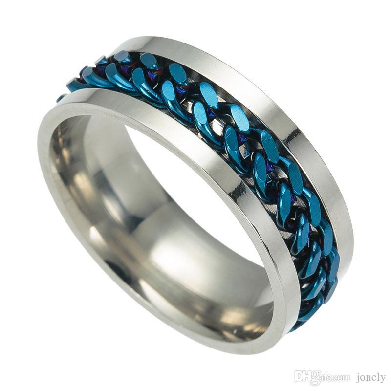 Grosshandel Verlobungsringe 8mm Chain Design Edelstahl Spinner Ringe