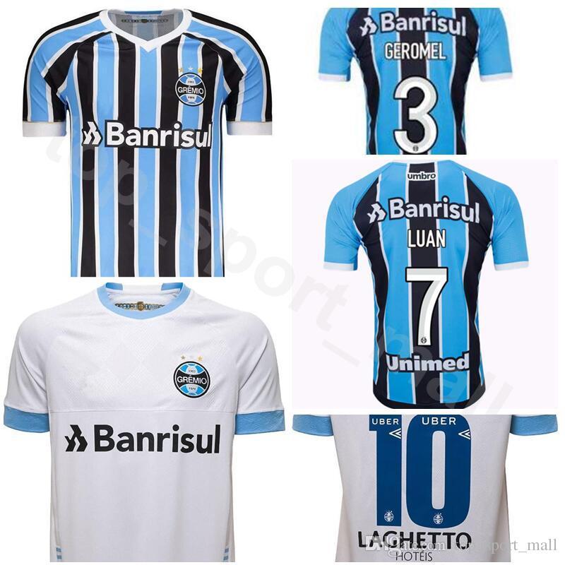 Compre Gremio Camisa De Futebol 2018 2019 FC 7 Luan Vieira 11 Everton  Soares 8 Maicon Souza Camisa De Futebol Kit Uniforme Azul Da Equipe Branco  De ... d7c79f81a8c36