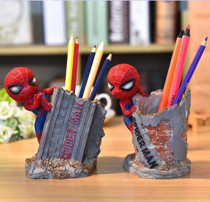 Spiderman Pen Pot Model Creative Pen Holder Flower Pot Office