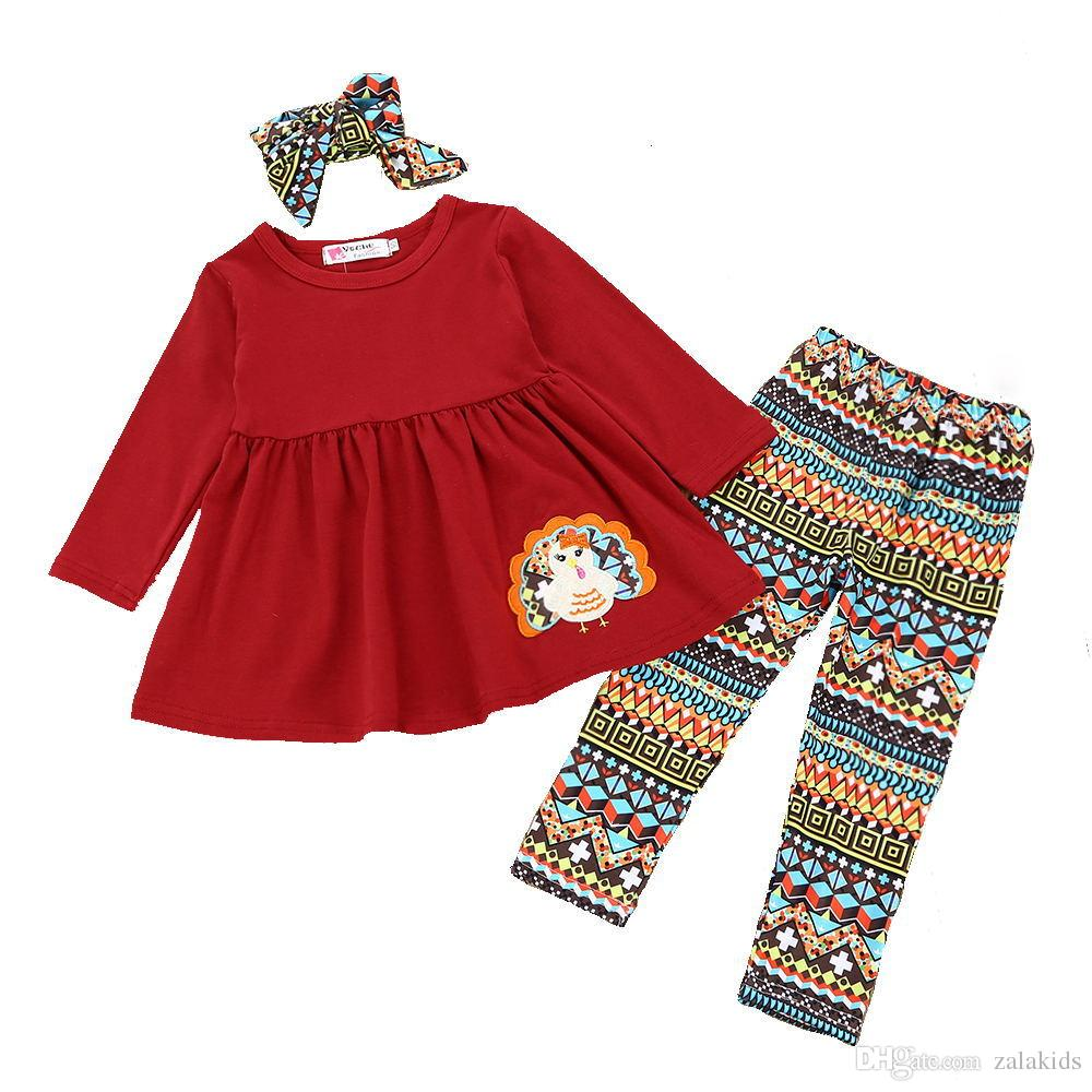3f1fc302 Thanksgiving Day Kids Baby Girls Clothes Set T-shirt Tops Dress +Long  Pants+Headband Toddler Outfit Girls Fall Boutique Clothing set