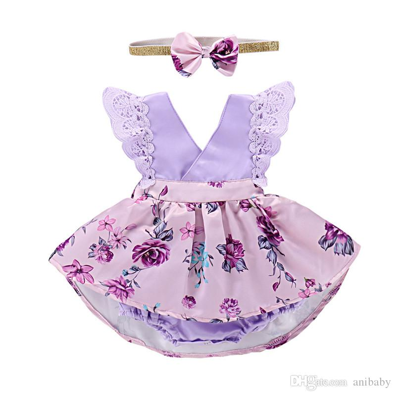 9a793b8414e Girls Floral Rompers Dress Baby Clothing Sets Kids Lace Flower Romper+  Headband Bowknot Printed Pettiskirt Romper Kids Summer Outfits B11 Online  with ...
