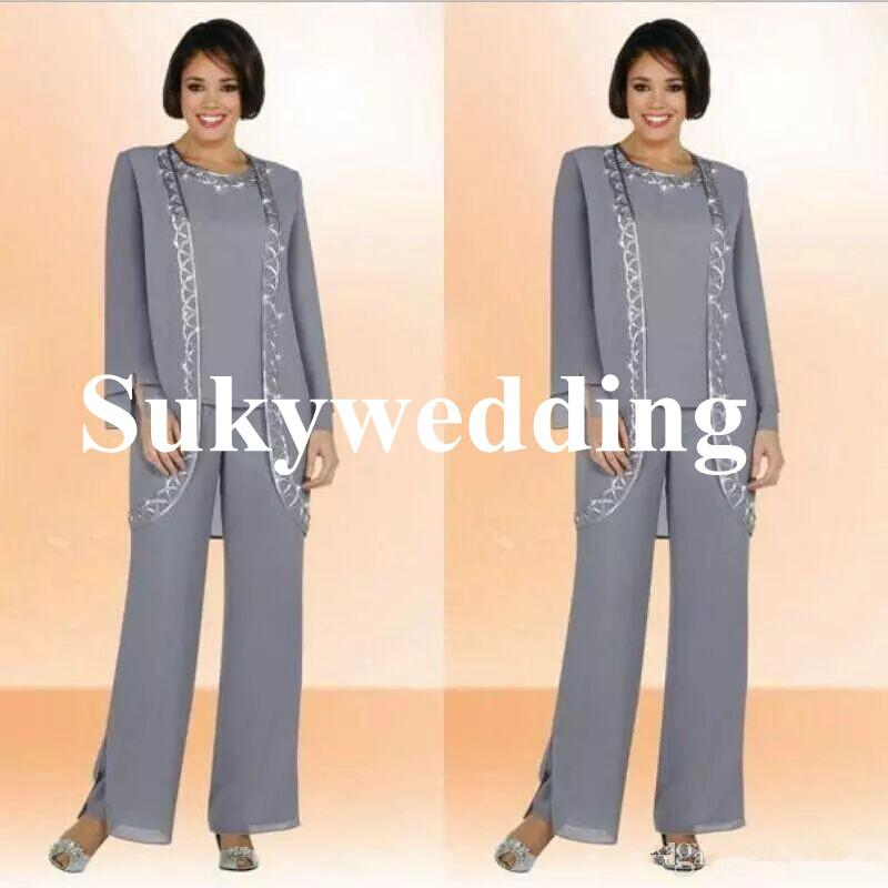 Luxury Beads Mother of The Bride Pant Suits With Long Sleeve Jacket Chiffon Beading Jewel Long Plus Size Women Formal Suits Custom Made
