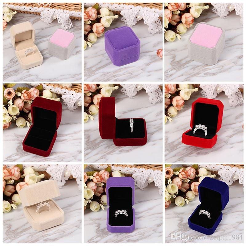 Hot Sale Elegant Simplicity Velvet Engagement Wedding Earring Ring Pendant Jewelry Display Colorful Storage Box Case