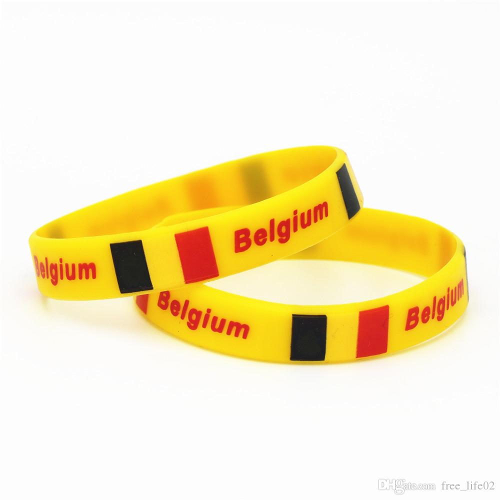 Wholesale Hot Sale Fashion Spain National Flag Silicone Wristband World Cup Football Sports Rubber Bracelets