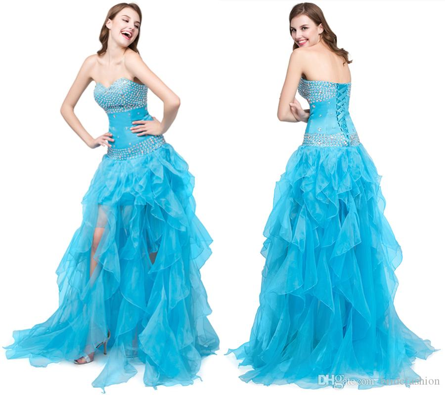 2018 Prom Dress Ice Blue Young Sweet Crystal Beaded Strapless Crystal A  Line Spaghetti Evening Dresses Prom Dresses Quinceanera Dress Long Gowns  Dresses ... d7731eb201d3
