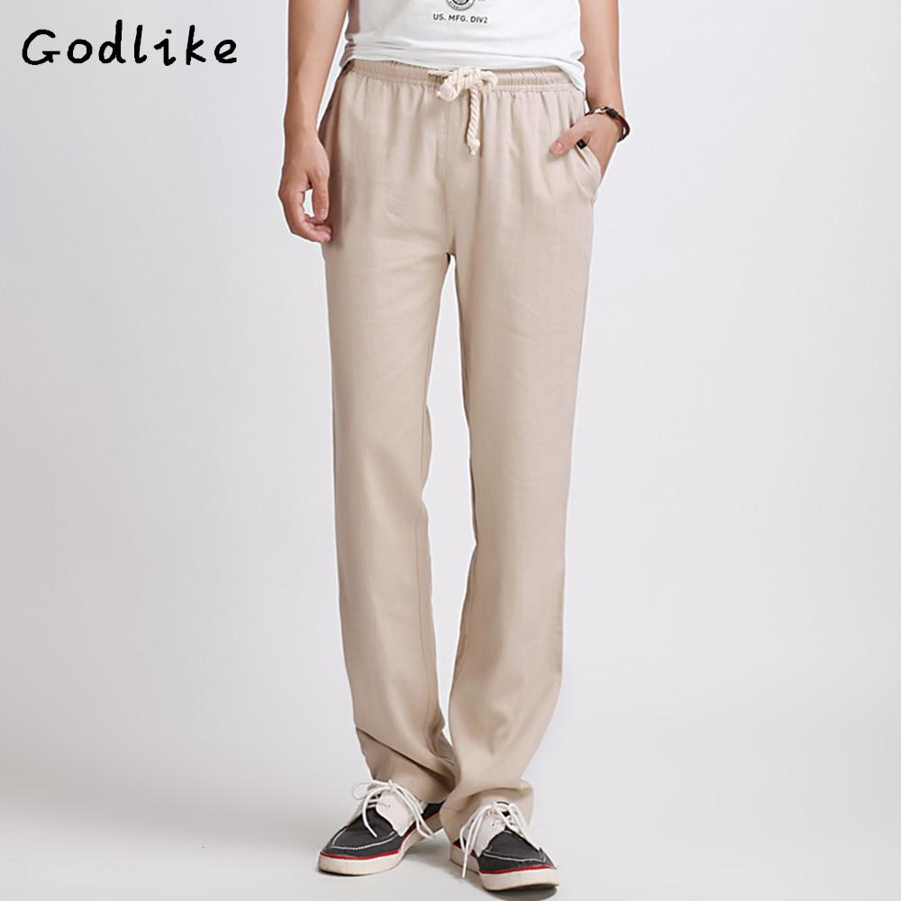 fdb3f9336f 2019 GODLIKE High Quality Mens Linen Pants 2018 Summer Style Joggers Solid  Color Casual Loose Cotton And Linen Trousers Size M 5XL From Mangcao