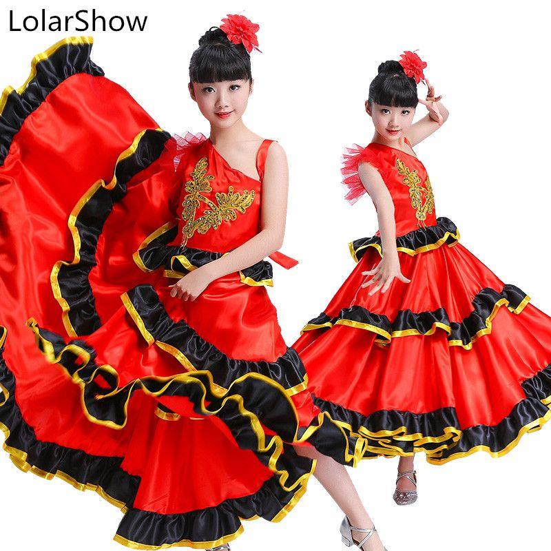 cffe7132c Compre Falda Flamenca Para Niños 360 / 540degree Bailarín De Flamenco  Español Senorita Disfraz De Baile Español Falda Para Niña A $32.08 Del  Primali ...