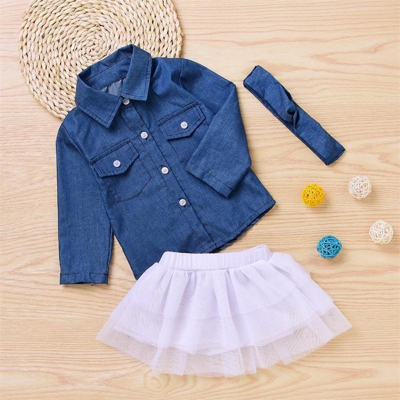 Mode Kleinkind Kinder Baby Mädchen Outfits Kleidung Denim Langarmhemd Top + Rock + Bogen Stirnband Set Kind Mädchen Kleidung Sets