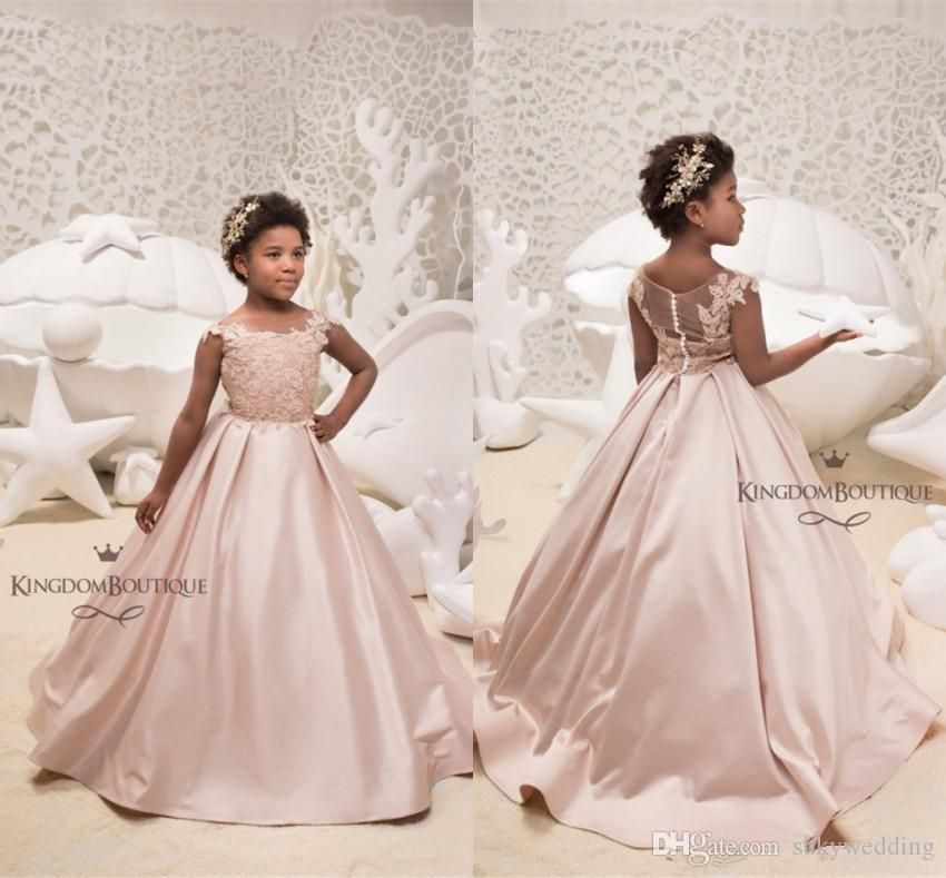 f2836d2ca3e 2019 Pink Satin Flower Girl Dresses For Western Weddings A Line Sheer Neck  Cap Sleeves Appliques Long Kids Birthday Prom Formal Party Gowns Bridesmaid  ...