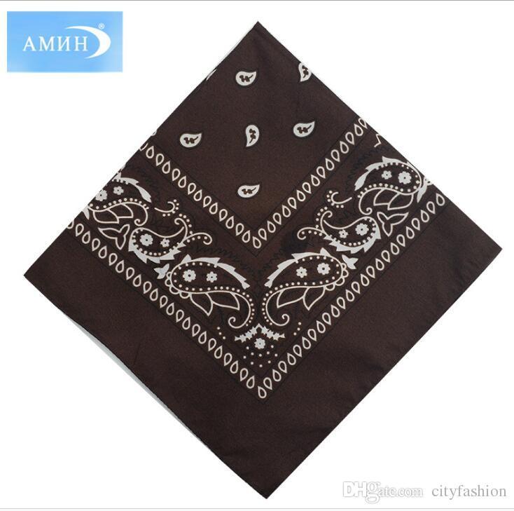 54*54CM National Style Paisley Bandanas Hip hop Cotton Handkerchief Double sided Printed Square Multicolors Muffler For Men Women