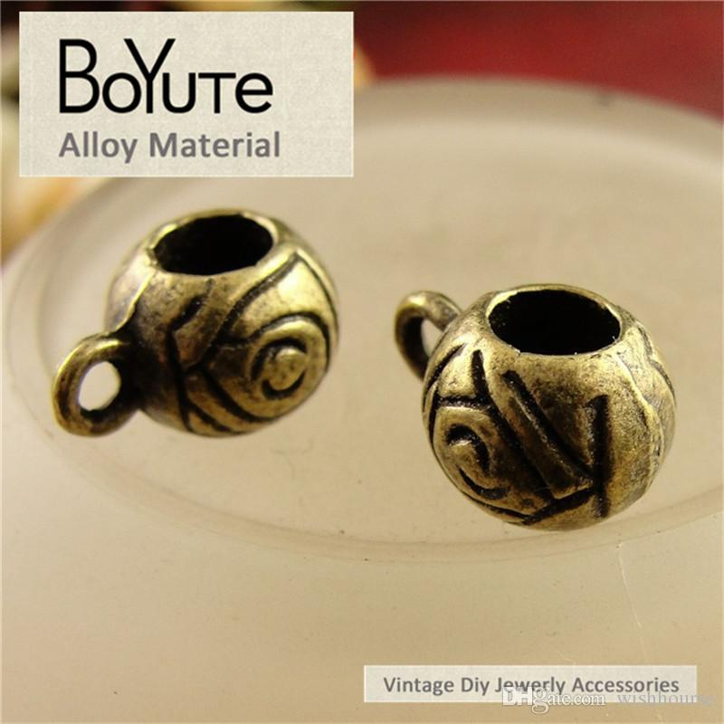 BoYuTe  9*12MM Antique Bronze Plated Zinc Alloy Vintage Big Hole Hang Circle Beads Diy Necklce Jewelry Findings Accessories