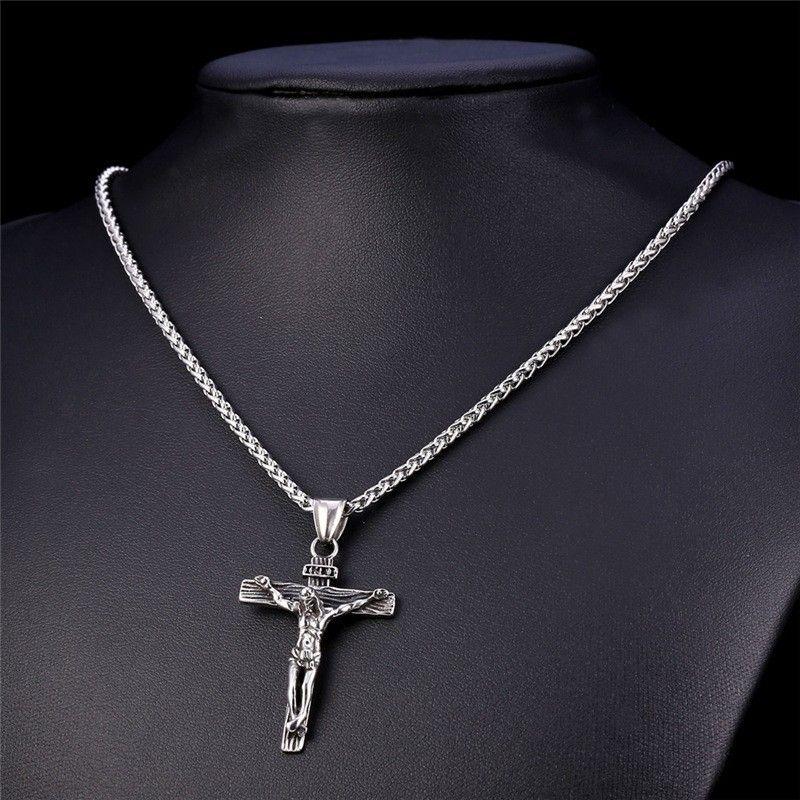 Крест Ожерелье INRI Распятие Иисуса Кулон Золотой Цвет Нержавеющей Стали Мужчины Цепи Католические Украшения Рождественские Подарки