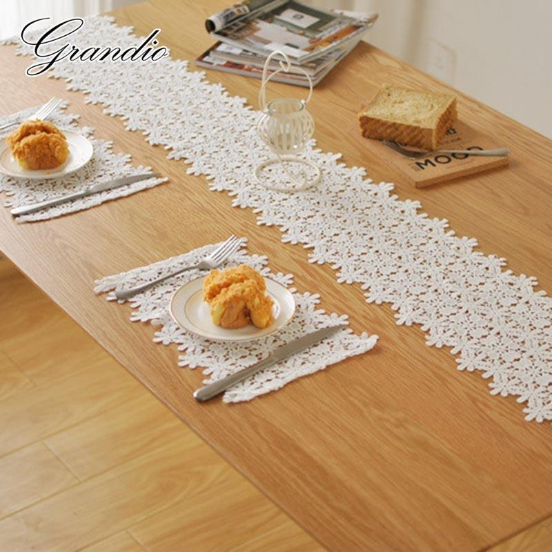 Wedding Lace Table Runner White Cotton Crochet Table Cloth Cover Crafted  Mesh Tablecloth Home Decoration For Party Christmas Holiday Table Linens  Holiday ...