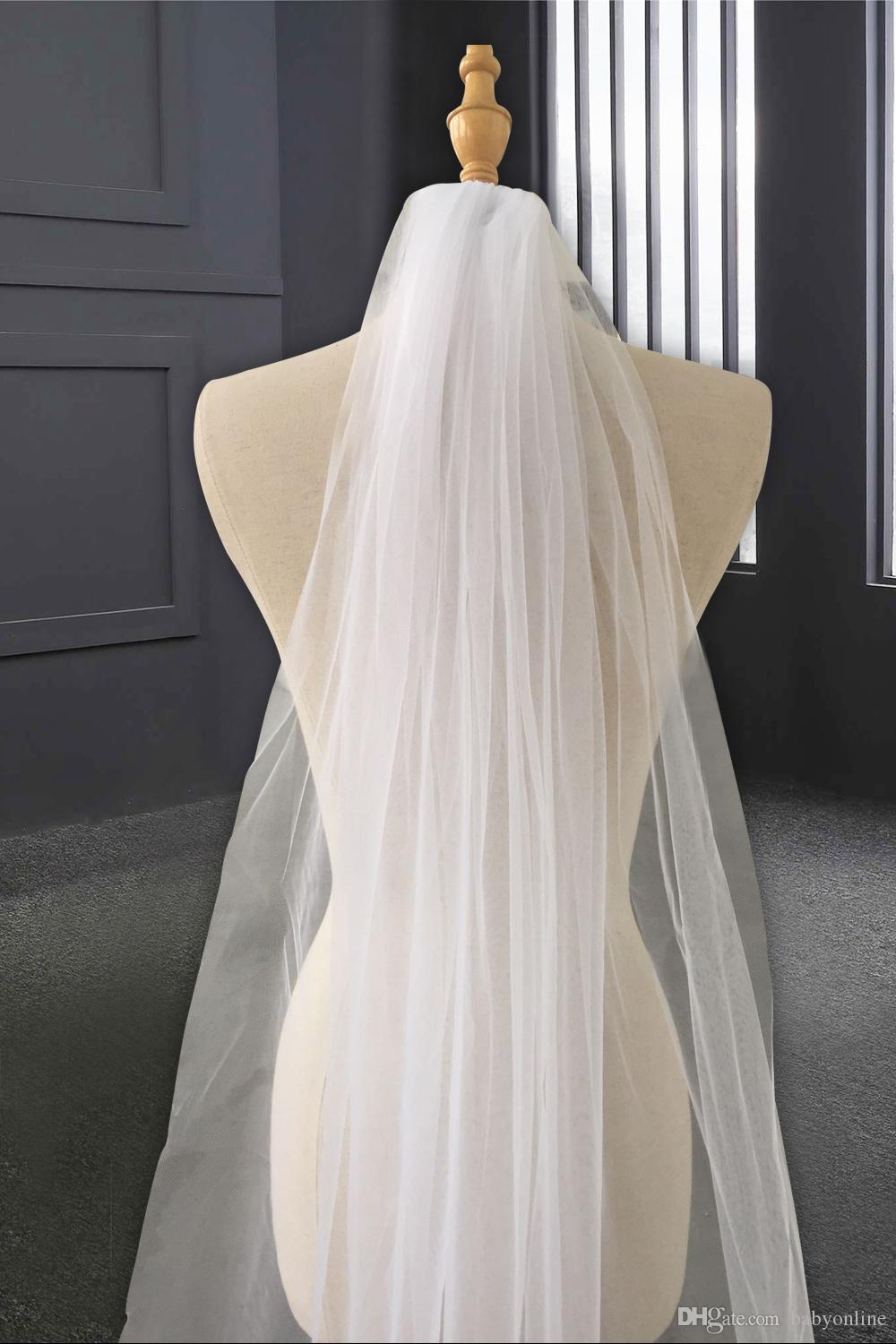 Best Sell Bridal Wedding Veil with Appliques Edge 2019 Tulle Long Cathedral Wedding Veil Bridal Veil with Comb veu de noiva cpa219