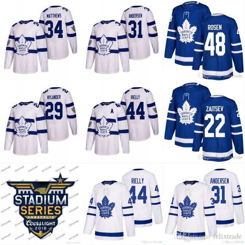 sale retailer ffbfc 22bff Gençlik Toronto Maple Leafs Formalar 2018 Stadyum Serisi 31 Frederik  Andersen 22 Nikita Zaitsev 48 Calle Rosen 44 Morgan Rielly Hokeyi Formalar