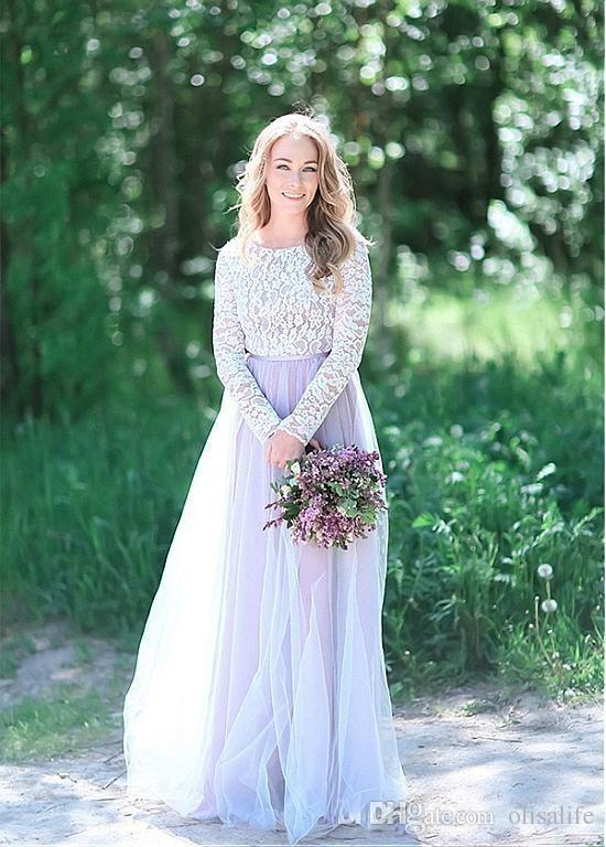 Plus Size Vintage Lace Tulle Floor Length Lilac Bridesmaid Dress Arabic  Long Sleeves Maid Of Honor Gowns Wedding Dress Light Purple Bridesmaid  Dresses Long ... d6bf3314eb54