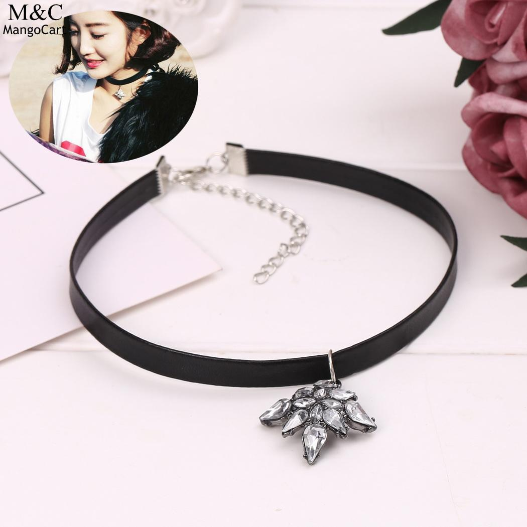 Collar Rhinestone Pendant Synthetic Leather Women Choker Necklace Gift