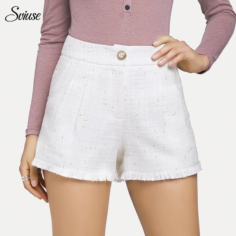438de3bd19bb1f Automne Hiver Vintage Tweed Plaid Shorts Femmes Large Leg Poche Lâche Blanc  Court Pantalon Femelle Élégant Casual Taille Haute Short