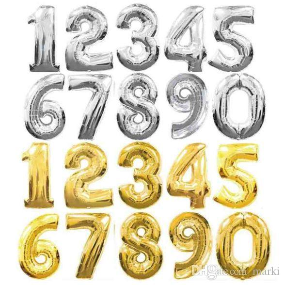 32 inch gold silver number aluminum foil balloons letters helium ballons birthday decoration wedding air balloon party supplies wn240 adult birthday party