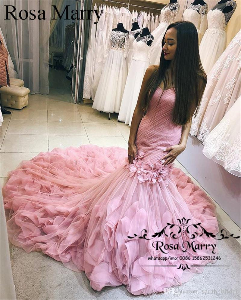 Sexy Pink Mermaid Black Girl Prom Dresses 2018 Plus Size Ruffles ...