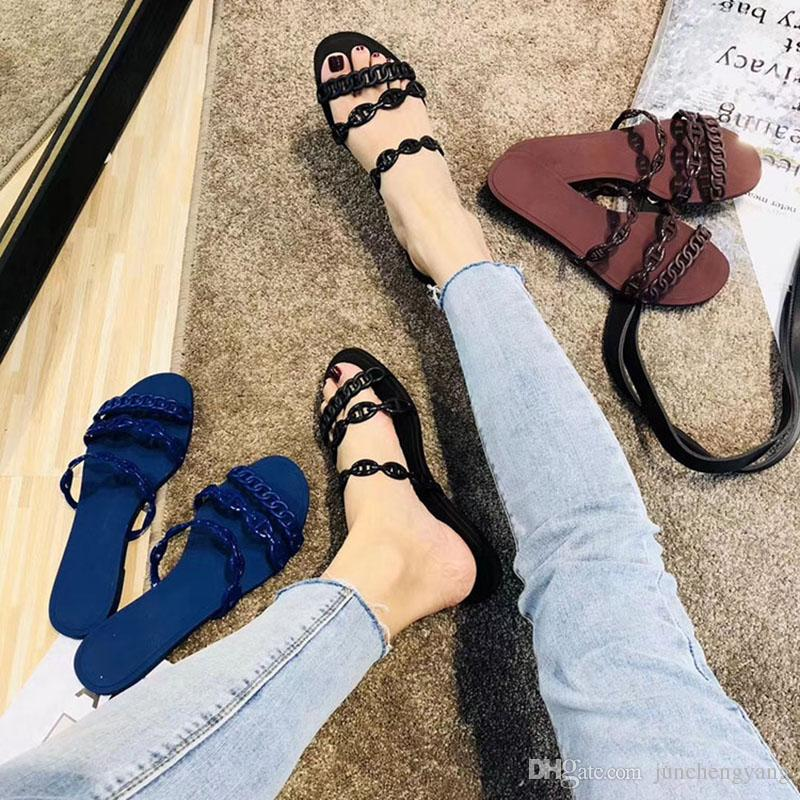 Summer Jelly Shoes sandals Woman Plastic One Word Chain Fashion On Vacation Beach Shoes Outdoor Flat Heel Woman slippers