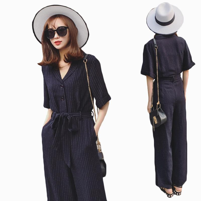 a4352612670 2019 Fashion Striped Rompers Womens Jumpsuit 2018 Korean Summer Slim Wide  Leg Pants Jumpsuit Womens Loose High Waist Rompers From Regine