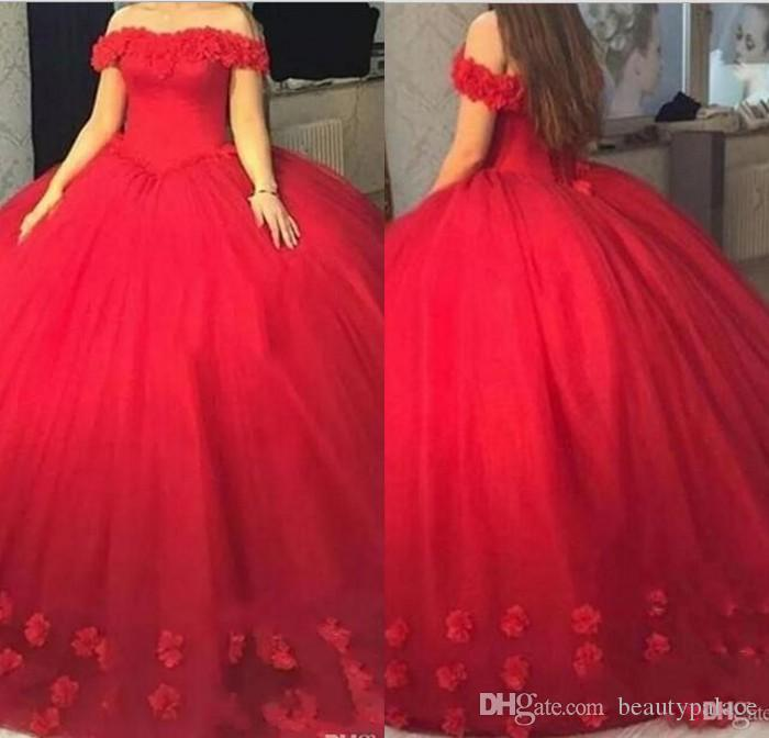 4f5e61a06ff Red 3D Floral Appliques Puffy Ball Gown Quinceanera Dresses Sweet 16 Off  Shoulder Red Tulle Lace Up Back 2019 Party Pageant For Girls All Dresses  Baby Blue ...