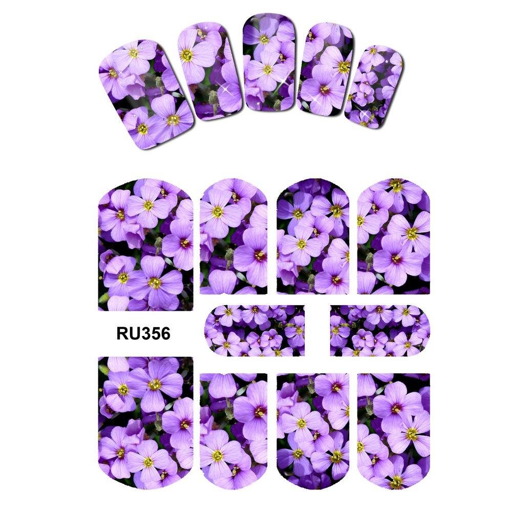 Uprettego nail art beauty water decal slider nail sticker tropical flower plants palm leaves daisy group orchid ru355 360 nail painting nail patch from