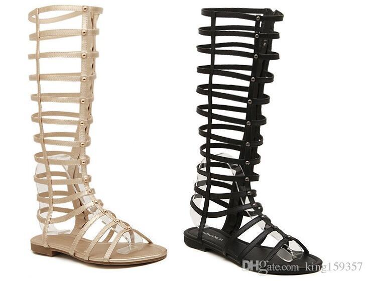 e348d6a385c9 Wholesale 2016 New Arrivals Gladiator Sandals Women Sandalias Knee High  Comfortable Flats Straps Heel Sandals Summer Women Shoes High Heel Shoes  Wholesale ...