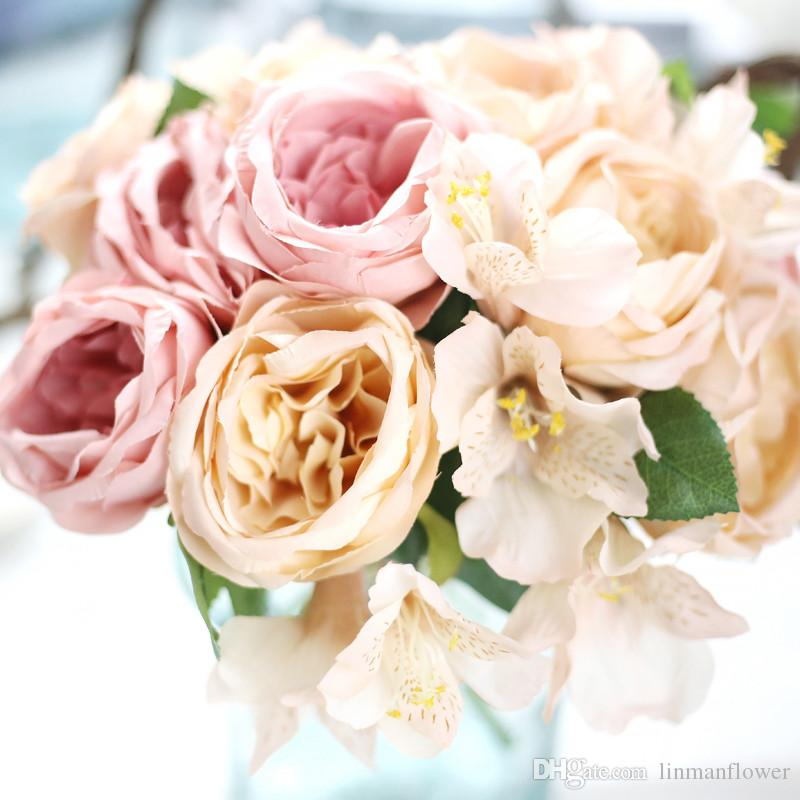 2018 New Arrival Wedding Flowers Pink Wedding bouquets Bridesmaids Artificial Silk Rose Lily Bridal Bouquet Wedding Accessories
