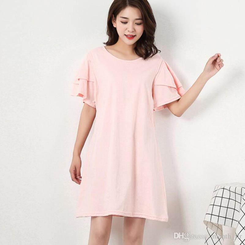 2018 Pink Women Ruffles Maternity Nursing Dress Pregnancy Breast
