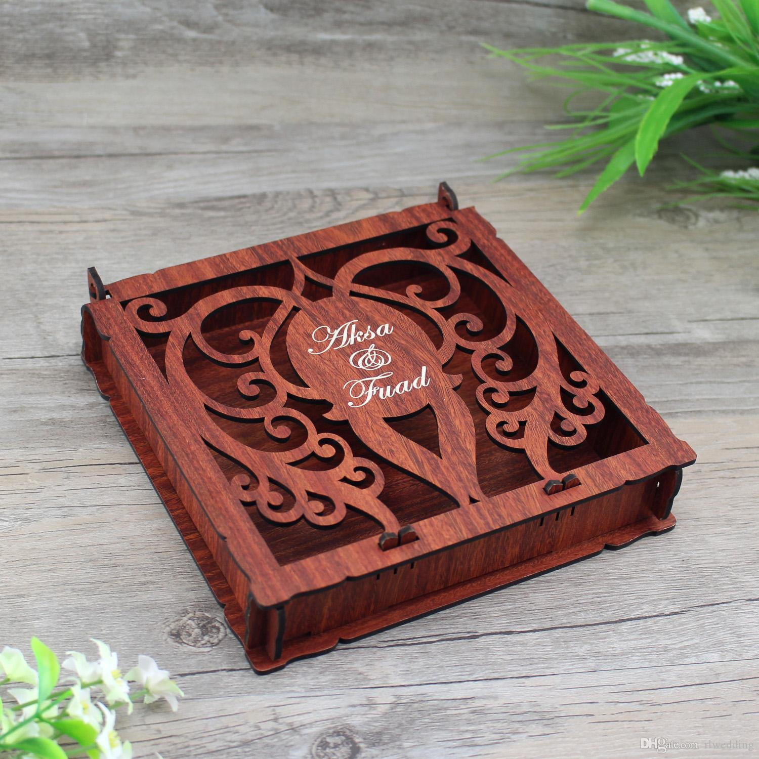 Elegant Invitation Card Box,Customized Wooden Wedding Invitation Box ...