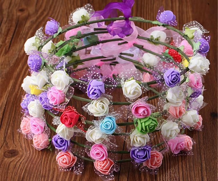 Горячие продажи мода Корона гирлянда свадебные детские украшения головы венки ручной работы искусственный цветок обруч для волос T3I0316