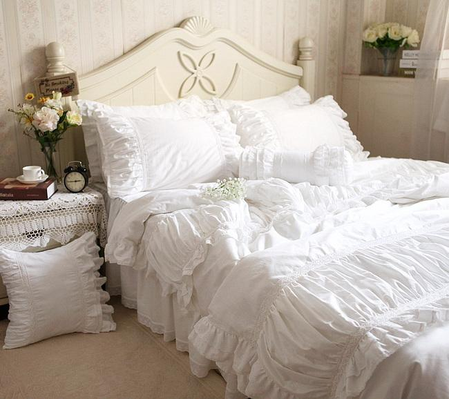 WINLIFE Luxury White Ruffle Bedding White Ruffle Comforter Bedding