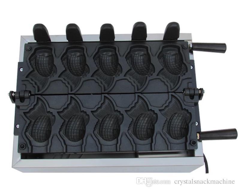 Rotatory sıcaklık kontrollü goldfish dondurma taiyaki makinesi dondurma taiyaki ızgara tava balık waffle makinesi ticari NP713
