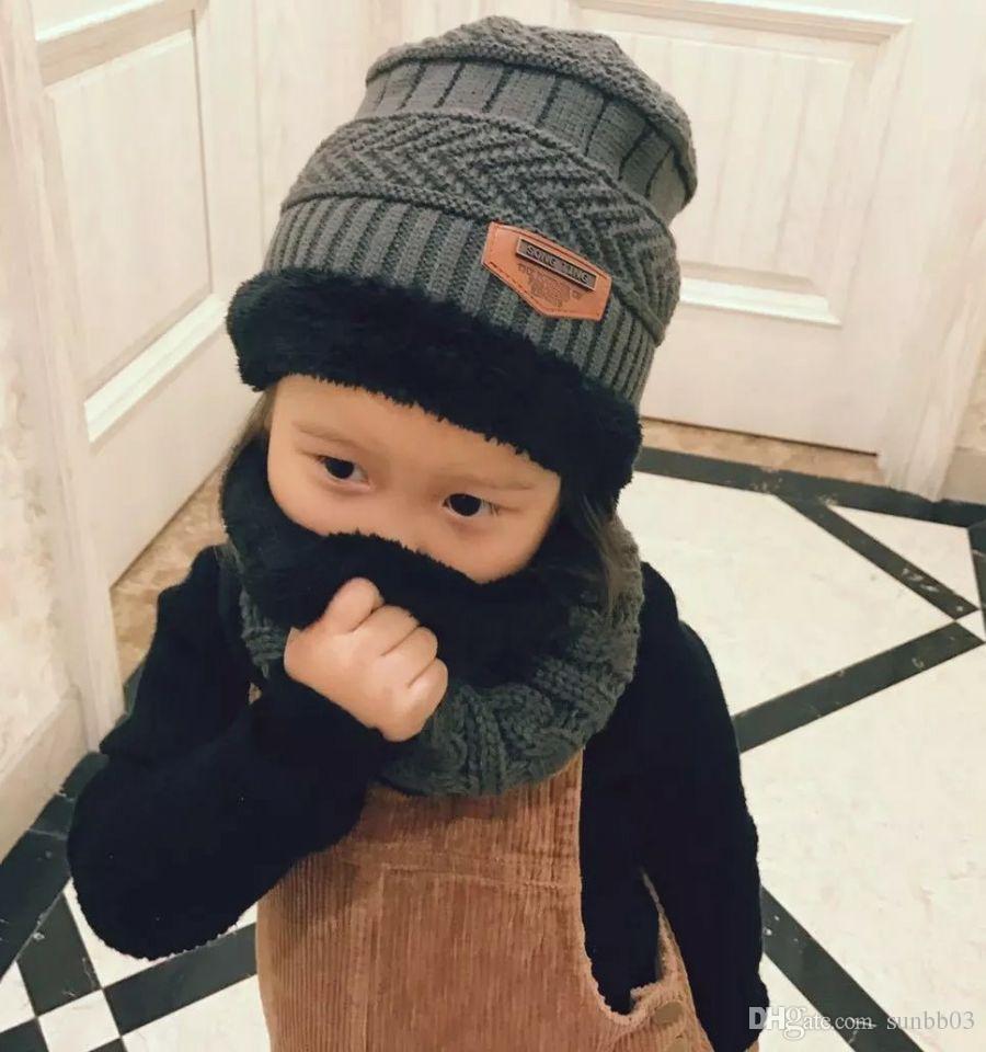 bdcbfd5a9dd 2019 2018 Winter Baby Kids Hat Scarf Wraps Knitted Cap Beanies Boys Girls  Crochet Neckerchief Children Neck Warmer Hats Set M175 From Sunbb03