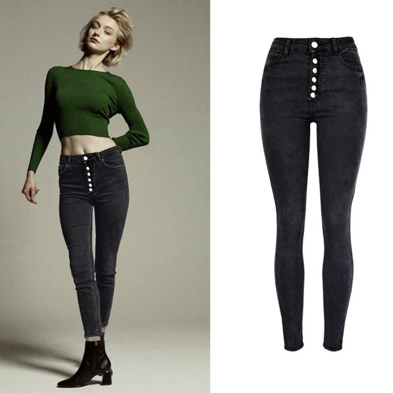 7002772c8 Pantalones vaqueros pitillo de talle alto botón de la moda mosca High  Street Washed Jeans negros Twotwinstyle Vaqueros Mujer Push Up Pantalon
