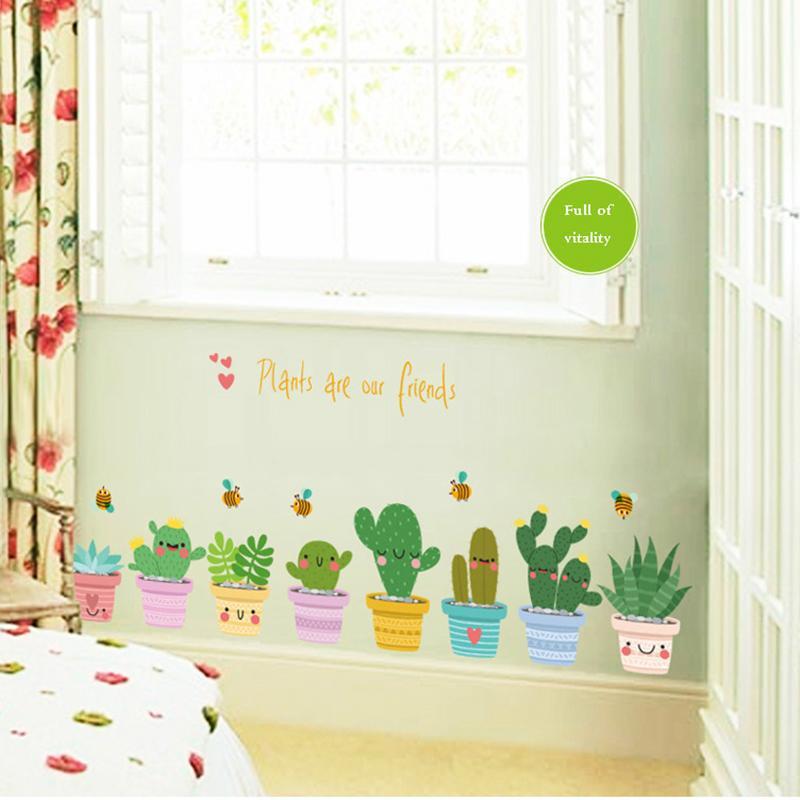 Acheter Diy Pot Culture Vinyle Sticker Mural Plante Murale Stickers