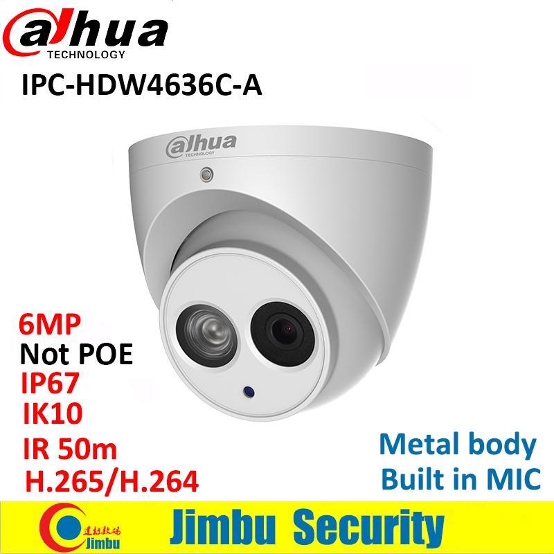 Dahua IP Camera IPC-HDW4636C-A 6MP Metal body H 265 Built-in MIC IR50m IP67  IK10 Dome Camera Not POE Smart Detection
