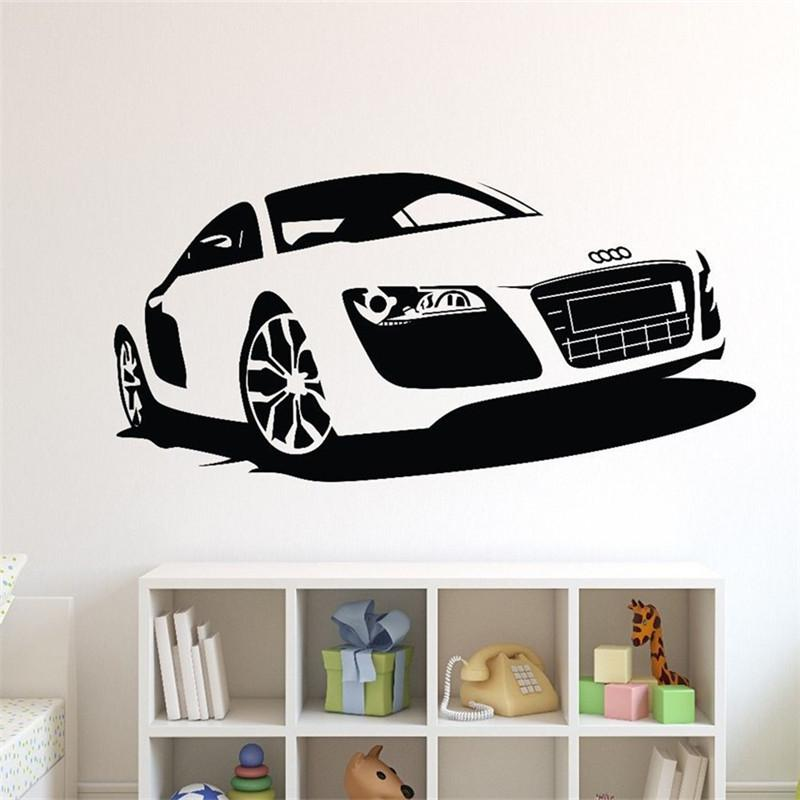 t06054 creative car wall stickers large racing car wall paper vinyl