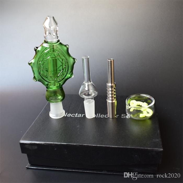 Klar / Blau / Schwarz / Grün Nectar Collector 3.0 Perc Anhänger Wearable Glaspfeifen 14mm Titan-Nagel-Nektar-Kollektor