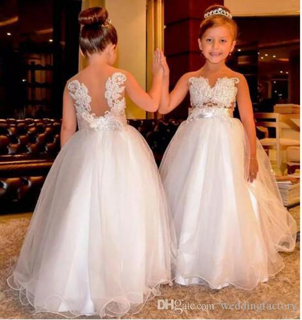 Vestidos de niña de las flores árabes Perlas de encaje Tul sin espalda Vestidos de novia para niños Vestidos de desfile de niña pequeña vintage