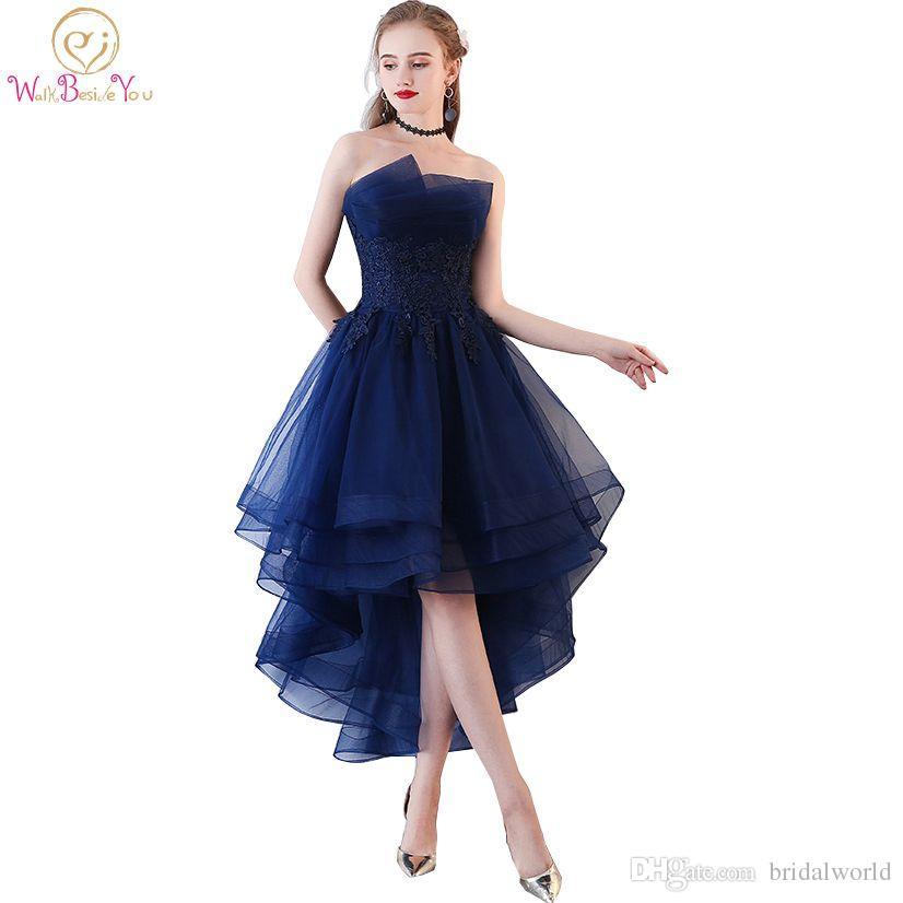 b3231969b004d Walk Beside You Navy Blue Evening Dresses Short Front Long Back Party Gowns  Lace Applique Strapless vestidos de festa Formal Prom Dresses