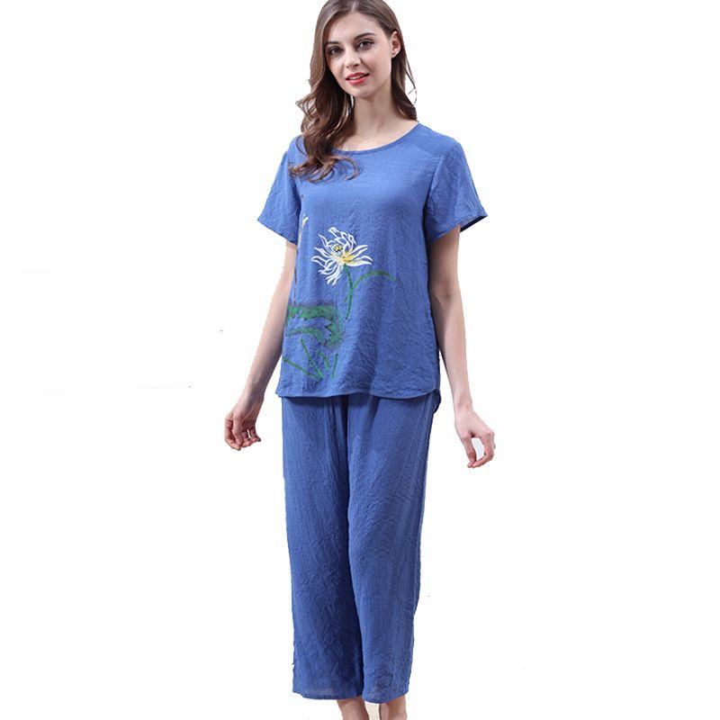 7ee649c82b Compre Conjuntos De Pijamas De Verano Para Dormir Para Mujer Suelte Tamaño  Grande Casual Cómoda Imprimir Manga Corta O Cuello Largo Completo Chándal  ...