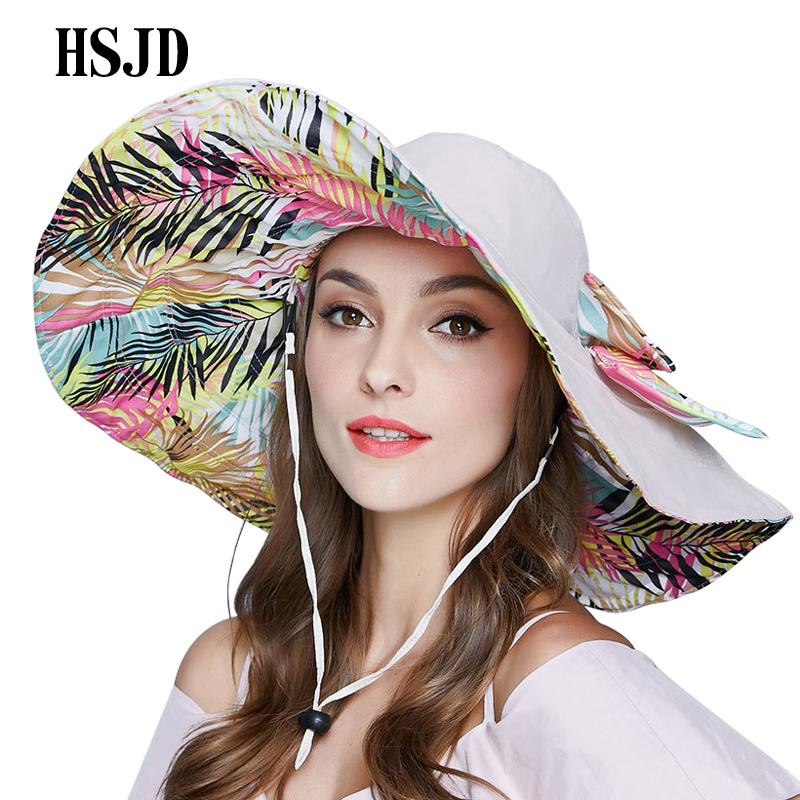 fda5c22de82 Cloth Sun Hats 2018 New Women Summer Large Wide Brim Bow Sun Hat Anti UV Beach  Hat Flower Printed Double Sided Female Travel Kentucky Derby Hats Trucker  ...